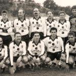 Club deportivo tudelano veteranos. Año 1993. De pie: López Gimeno, Faustino, Rota, Félix, Chucho , Pérez. Agachados: Solica, Raimundo, Leo, López, Munarriz.